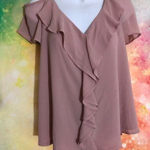Cold shoulder pink blouse 1x
